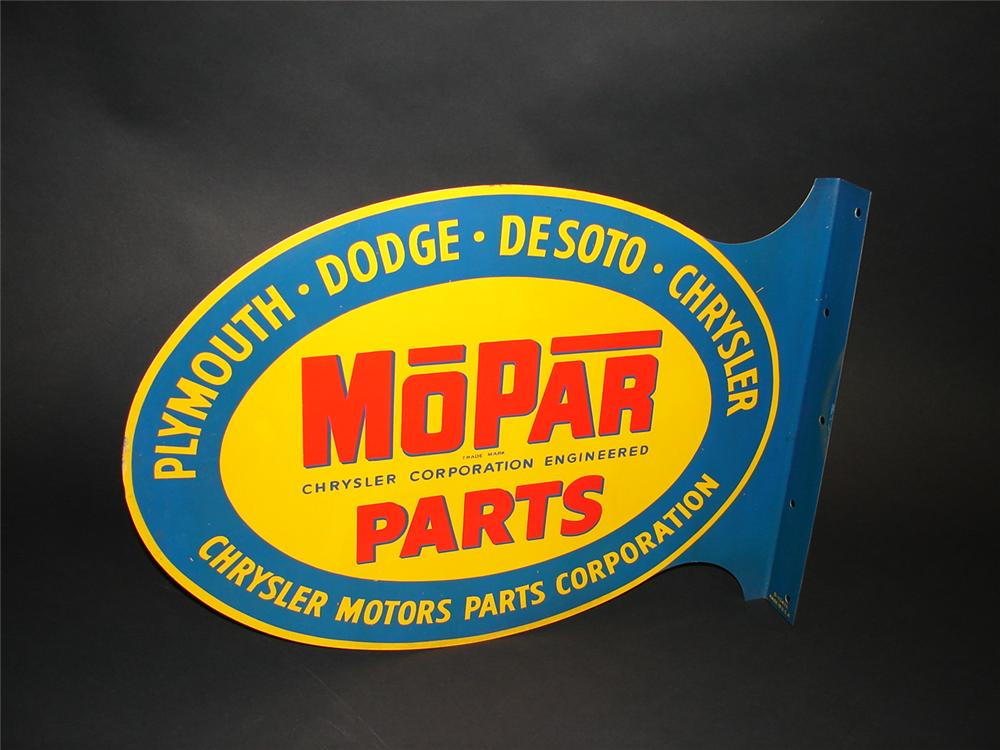 Scarce 1950s Mopar Parts double-sided tin painted garage flange. Pulled out of the original shipping paper. An amazing find! - Front 3/4 - 89353