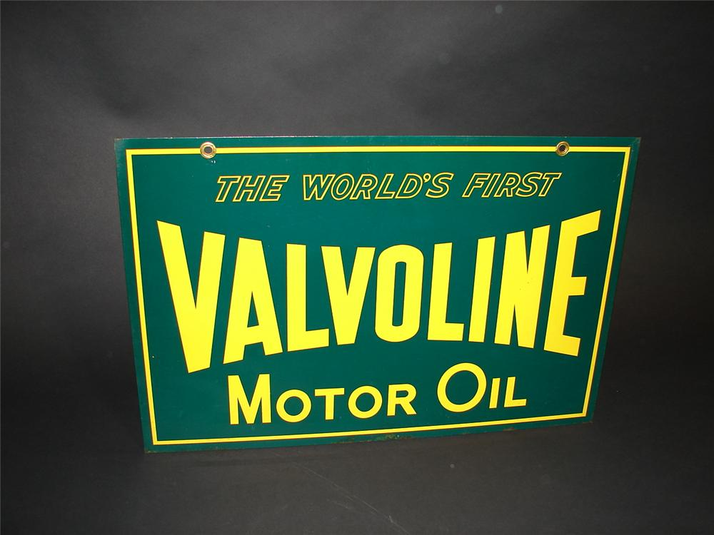 N.O.S. Valvoline Motor Oil double-sided tin garag sign. - Front 3/4 - 89354