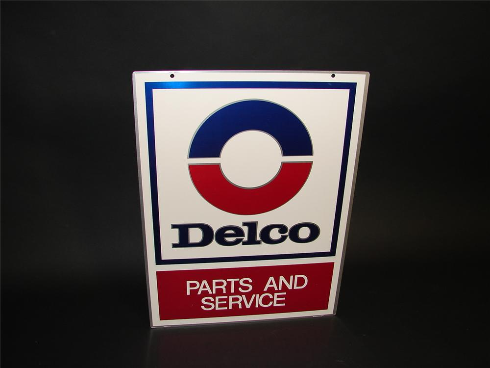N.O.S GM Delco Parts and Service double-sided tin garage sign. - Front 3/4 - 89361