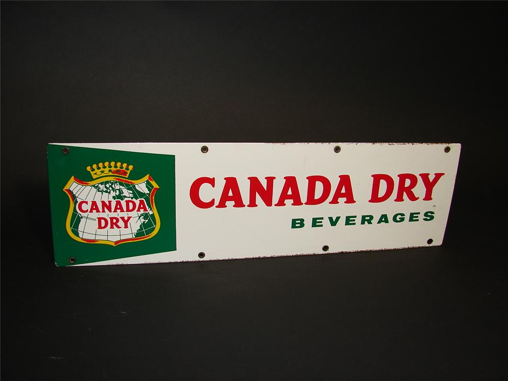 Late 1950s Canada Dry Beverages single-sided porcelain general store sign. - Front 3/4 - 89363