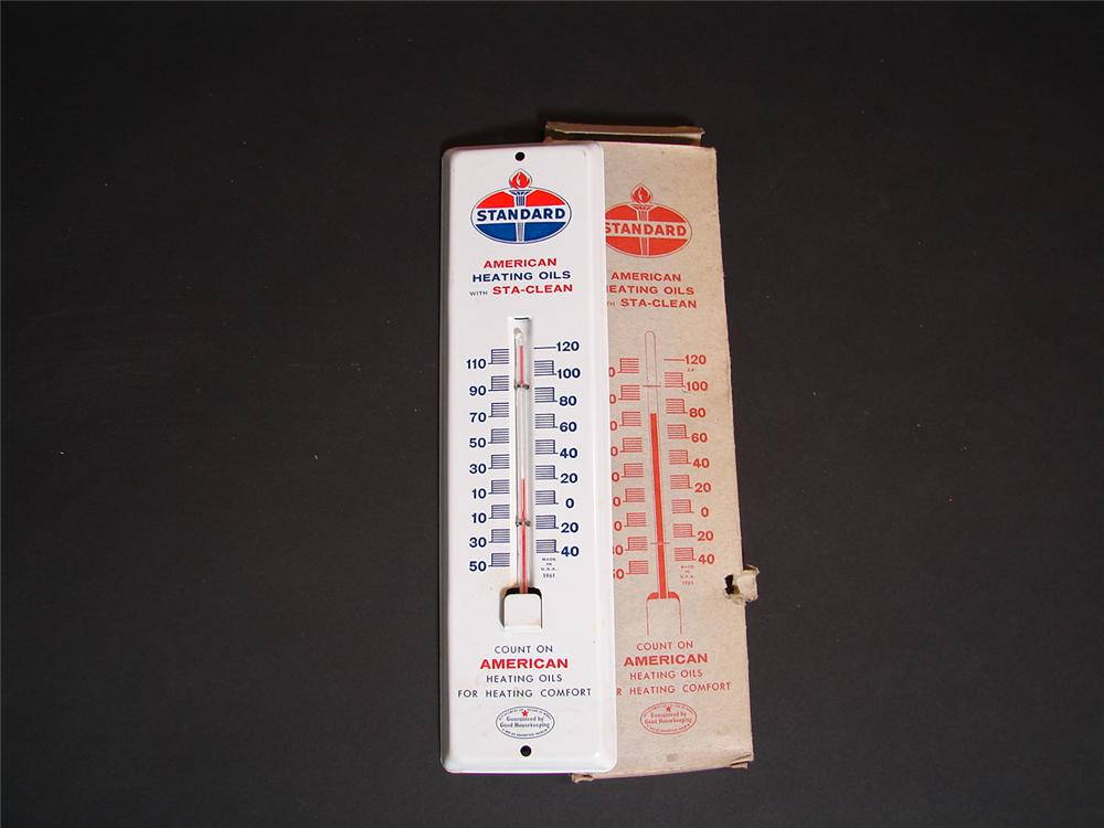 N.O.S. 1961 Standard Heating Oils garage tin painted garage thermometer still in the original box. - Front 3/4 - 89366