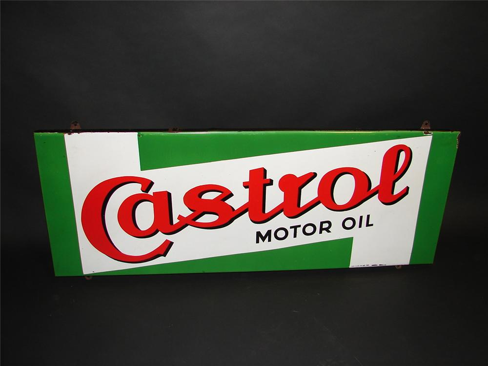 Very nice 1950 Castrol Motor Oil single-sided porcelain garage sign. - Front 3/4 - 89368