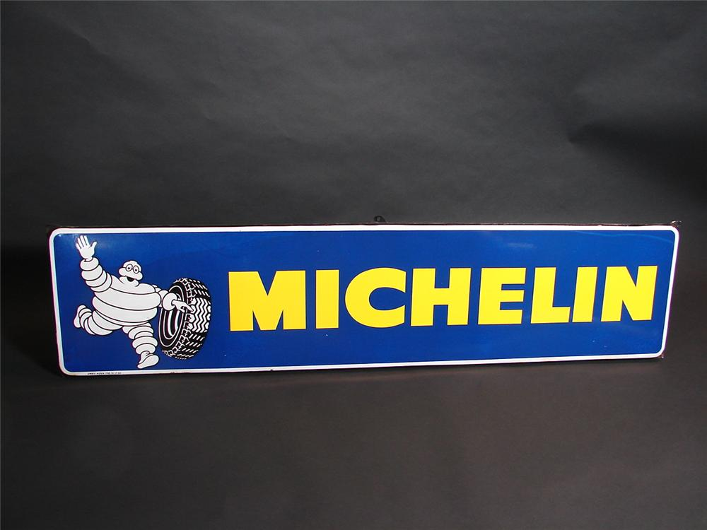 Killer Michelin Tires single-sided horizontal porcelain vintage garage sign with Bibedum graphic. - Front 3/4 - 89369