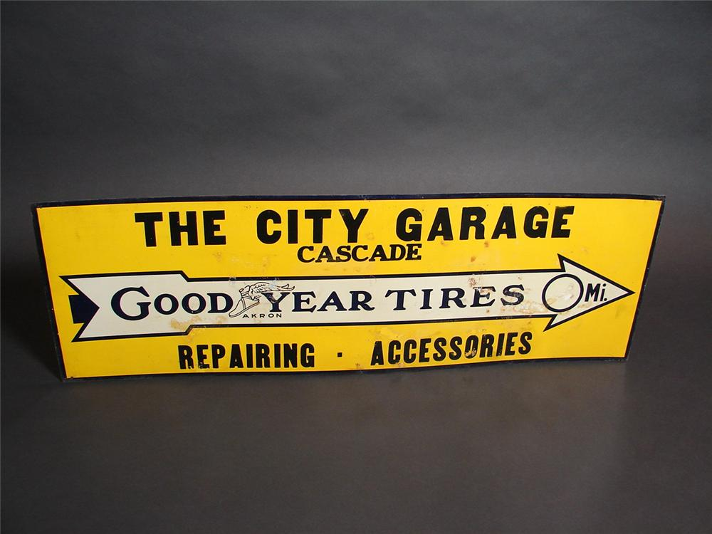 N.O.S. early 1920s Goodyear Tires single-sided tin painted garage sign. Some random oxidation from storage. Never used. - Front 3/4 - 89370
