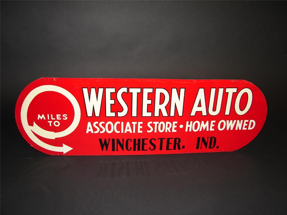 N.O.S. 1930s Western Auto single-sided tin painted embossed garage sign. - Front 3/4 - 89371