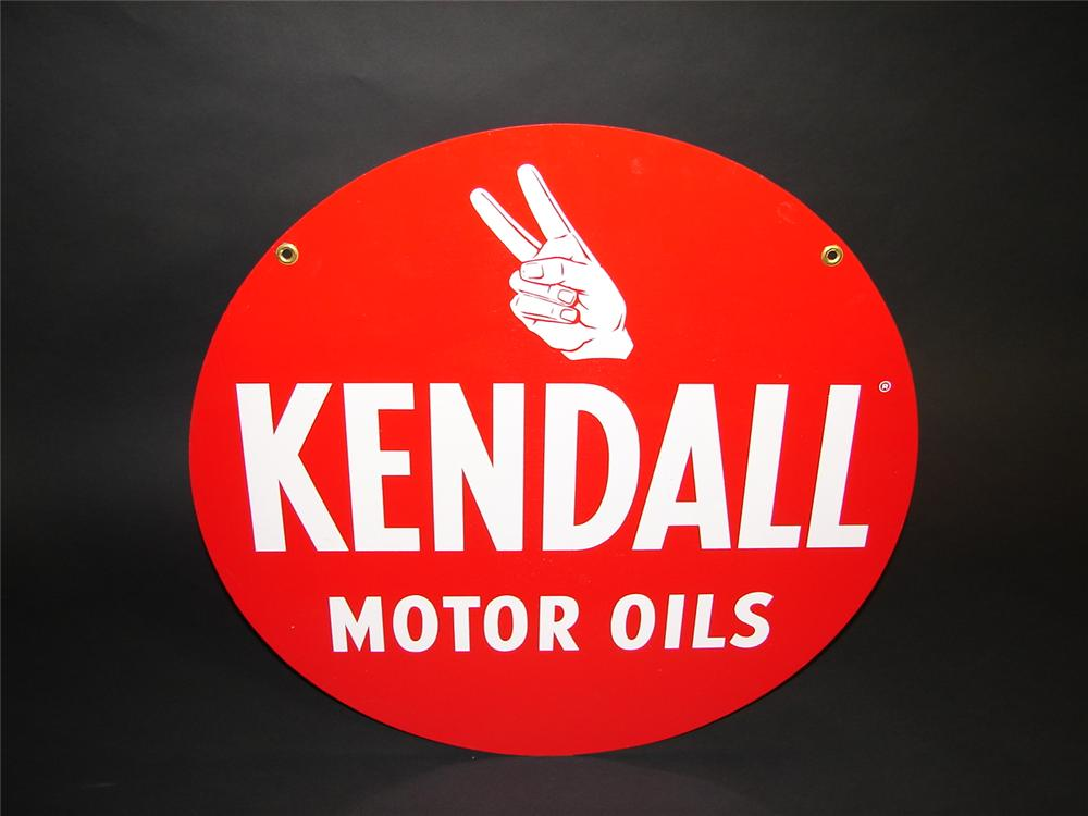 N.O.S. 1950s Kendall Motor Oil double-sided tin garage sign with hand logo. - Front 3/4 - 89374