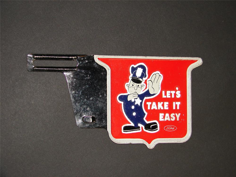 """N.O.S. 1930s Ford """"Lets Take It Easy"""" license plate attachment sign with policeman graphic. - Front 3/4 - 89375"""