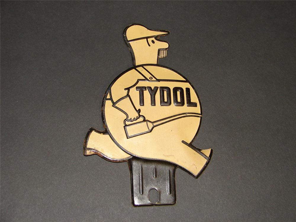 N.O.S. 1930s Tydol Motor Oil die cut tin license plate attachment sign. - Front 3/4 - 89377