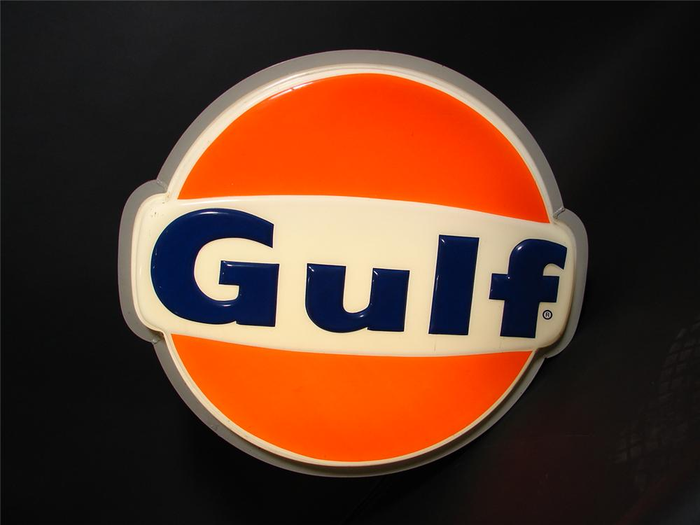 Choice 1960s-70s Gulf Oil light-up service station sign. - Front 3/4 - 89382