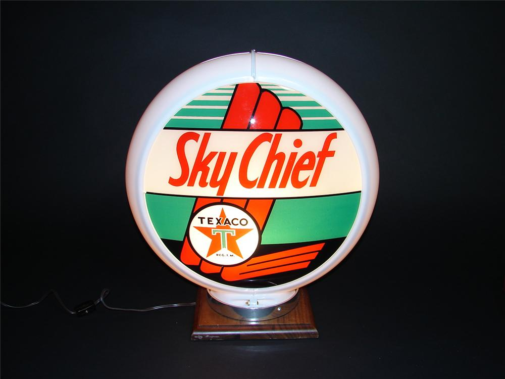 1940s-50s Texaco Sky Chief Gasoline plastic bodied gas pump globe with glass lenses. - Front 3/4 - 89389