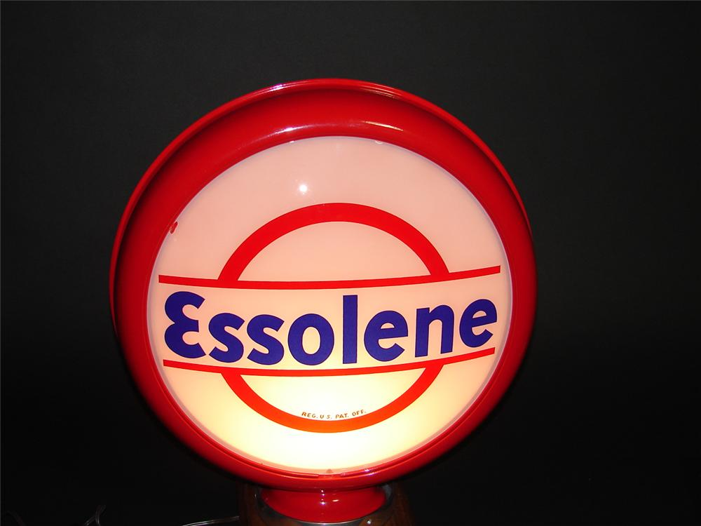 Beautiful 1930s Essolene metal bodied gas pump globe. Lenses appear to be N.O.S. - Front 3/4 - 89390