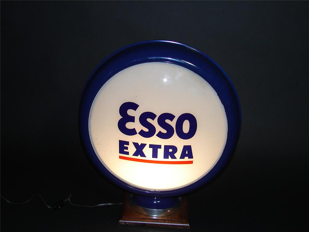 1930s Esso Extra metal bodied gas pump globe. Lenses appear to be N.O.S. - Front 3/4 - 89393