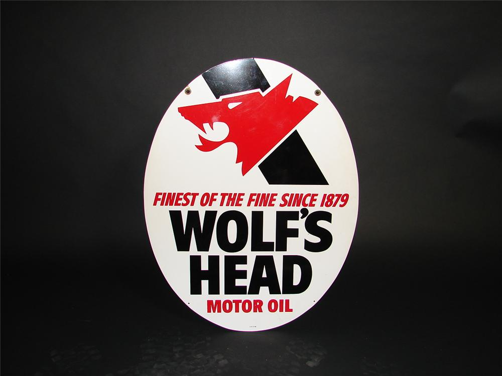 Choice Wolfs Head Motor Oil double-sided tin painted garage sign. - Front 3/4 - 89398