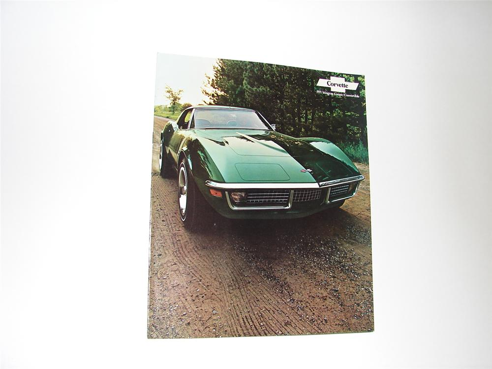 N.O.S. 1971 Corvette Sting Ray 12 page color sales brochure. - Front 3/4 - 89401