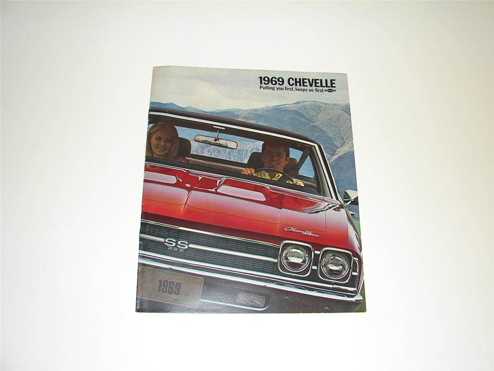 N.O.S. 1969 Chevelle 16 page color sales brochure. - Front 3/4 - 89405
