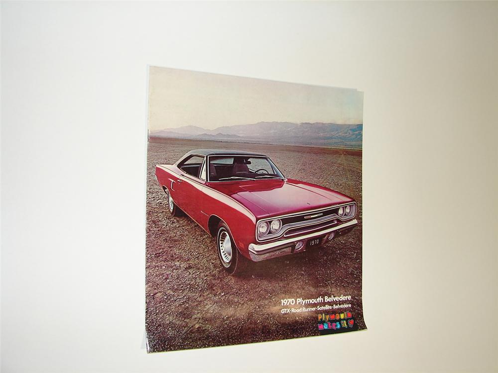 N.O.S. 1970 Plymouth over-sized 20 page color sales brochure for Belvedere, Road Runner, Grx and Satellite. - Front 3/4 - 89414