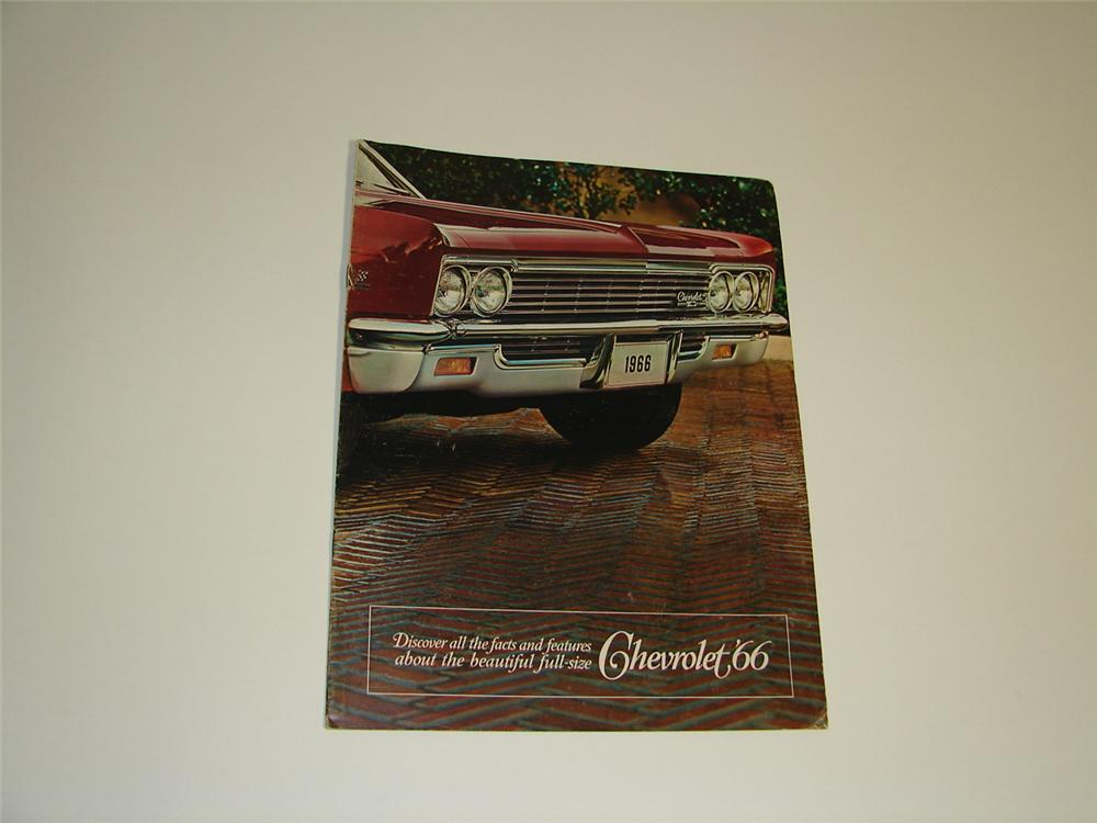 Large N.O.S. 1966 Chevrolet 24 page over-sized comprehensive color sales brochure. - Front 3/4 - 89415