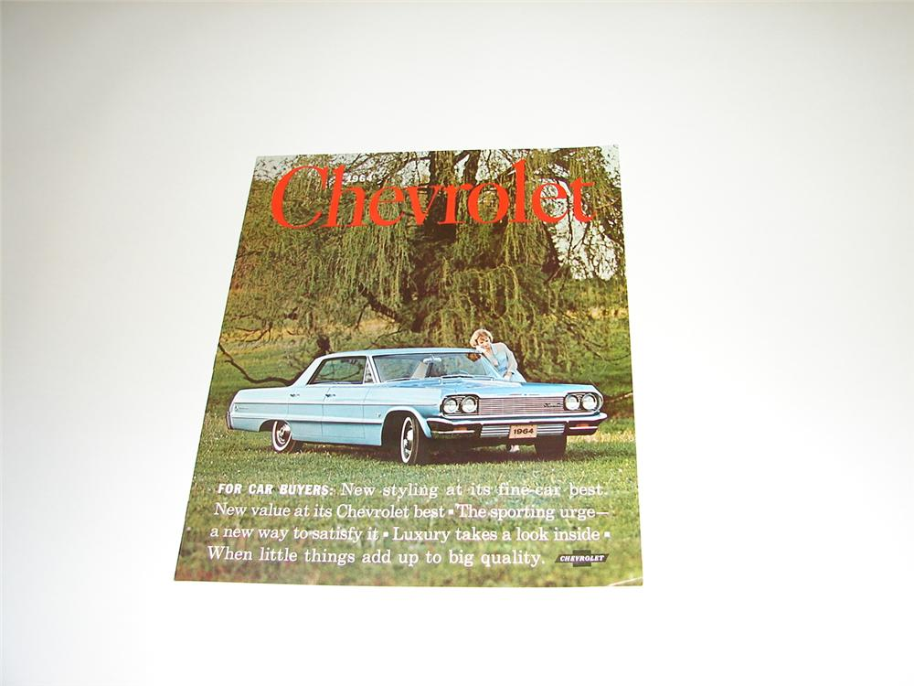 N.O.S. 1964 Chevrolet over-sized comprehensive 16 page color sales brochure. - Front 3/4 - 89416