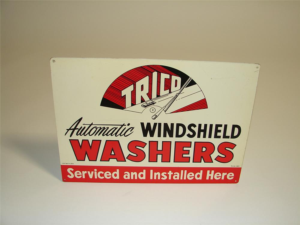 N.O.S. 1940s-50s Trico Windshield Washers Service single-sided tin garage sign. - Front 3/4 - 89418