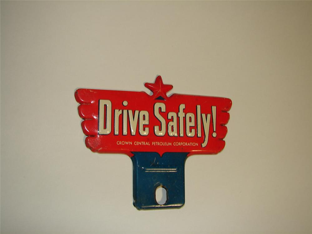 "Wonderful 1930s Crown Gasoline ""Drive Safely"" tin license plate attachment sign. - Front 3/4 - 89419"