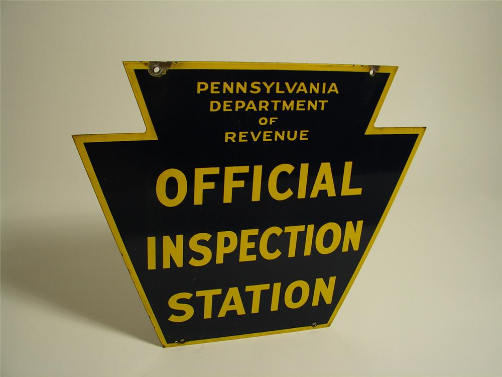 1940s Pennsylvania Official Vehicle Inspection Station double-sided porcelain sign. - Front 3/4 - 89421