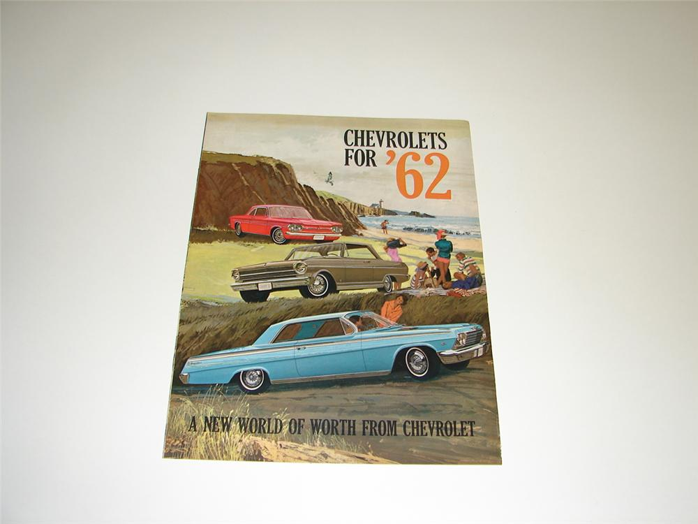 N.O.S. 1962 Chevrolet 12 page over-sized prestige sales brochure. - Front 3/4 - 89423