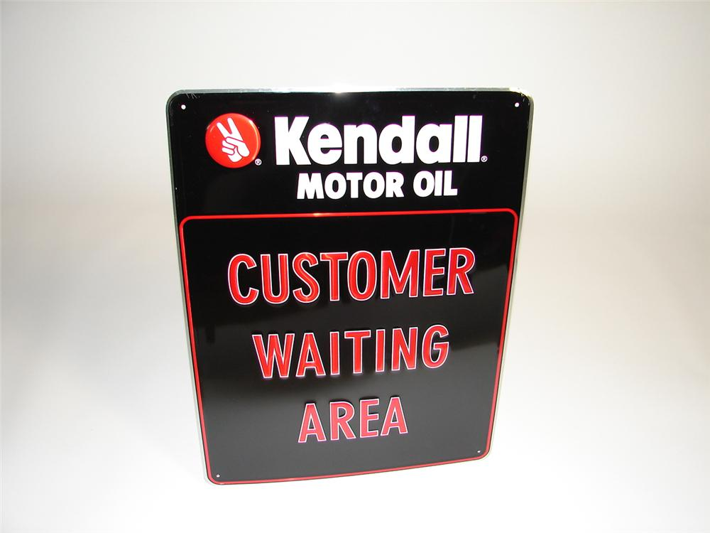 "N.O.S. Kendall ""Customer Waiting Area"" single-sided tin garage sign. - Front 3/4 - 89424"