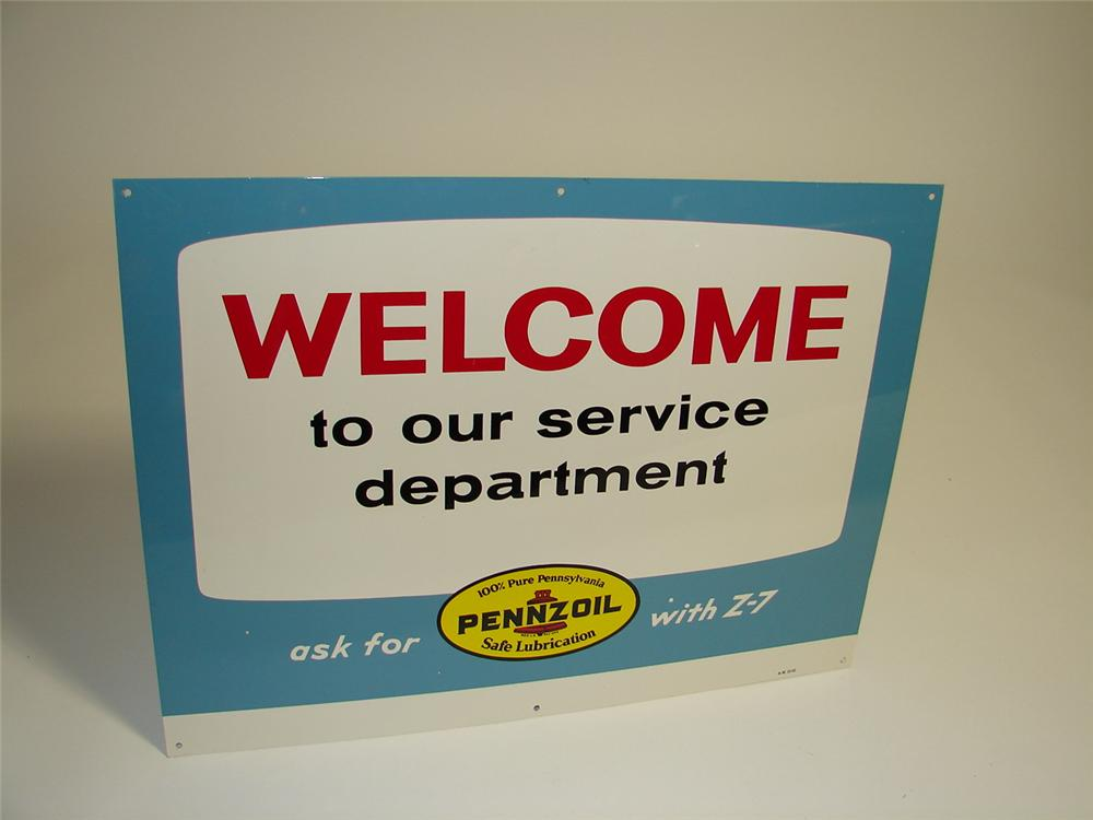 "Superb N.O.S. 1965 Pennzoil ""Welcome to our servcie department"" single-sided tin painted garage sign. - Front 3/4 - 89429"