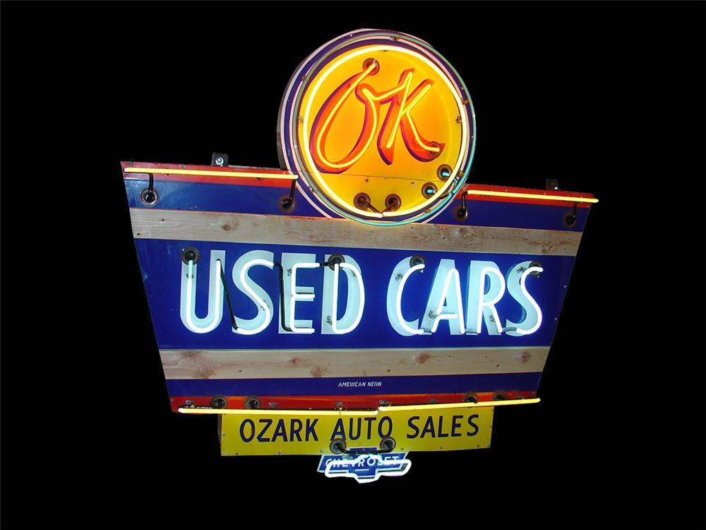 Outstanding 1950s Chevrolet OK Used Cars single sided neon porcelain dealership sign. - Front 3/4 - 89430