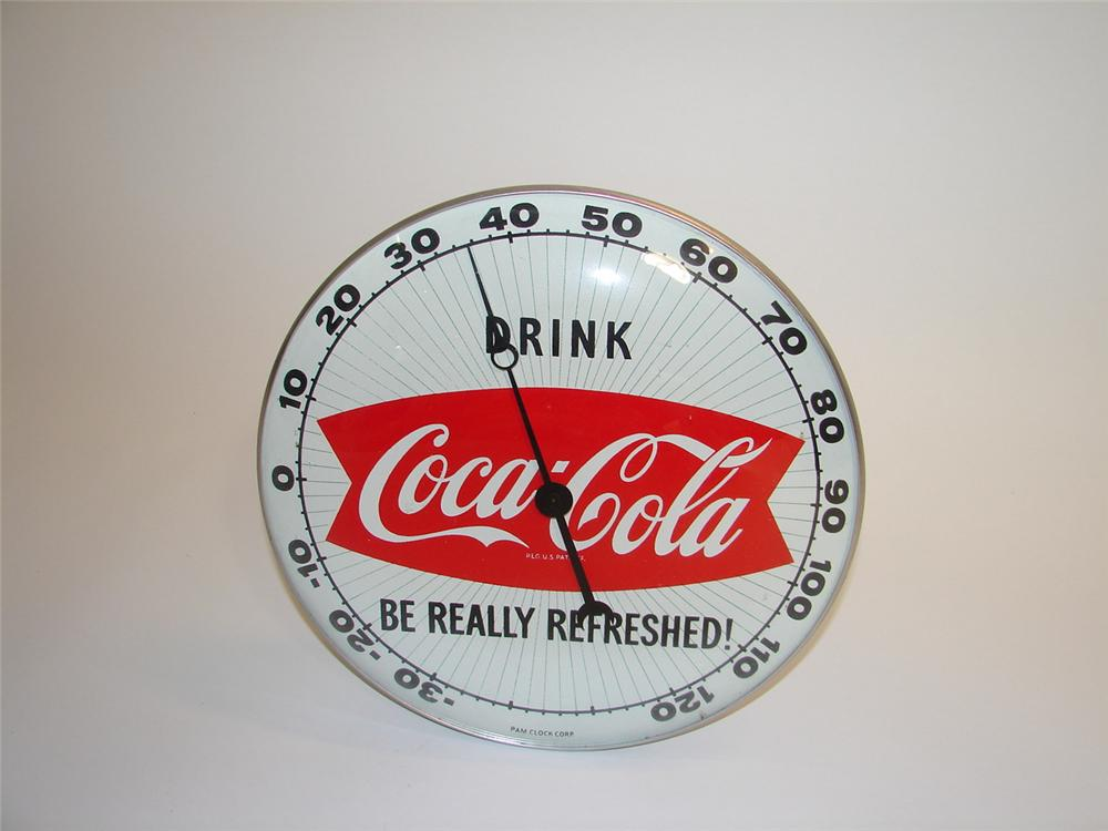 Terrific 1950s Coca-Cola glass faced dial style general store-service thermometer with fishtail logo. - Front 3/4 - 89437