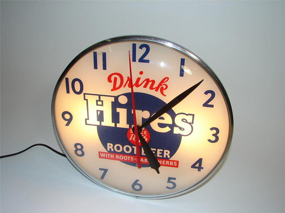 Fabulous 1950s Hires Root Beer glass faced light-up general store clock. - Front 3/4 - 89439