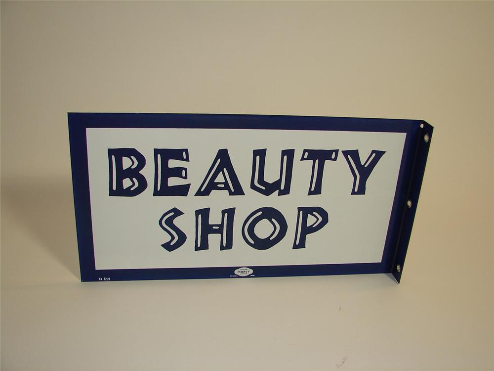 N.O.S late 1950s-early 60s Beauty Shop double-sided porcelain flange sign. Pulled out of the original shipping crate. - Front 3/4 - 89442