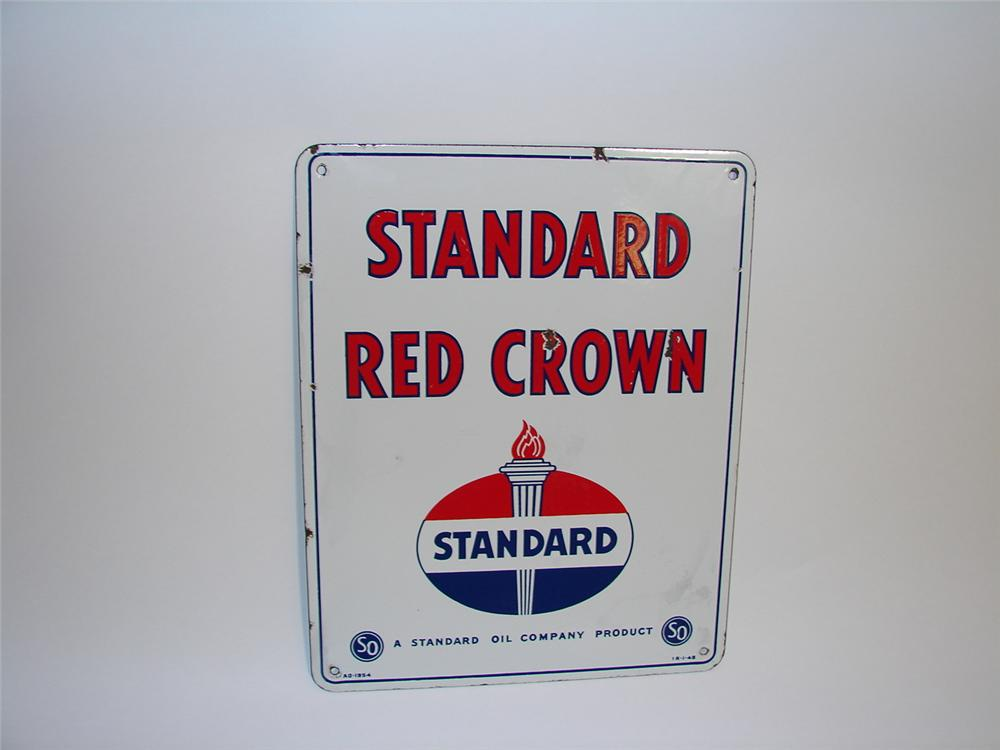 1954 Standard Gasoline Red Crown Gasoline porcelain pump plate sigh with Torch logo. - Front 3/4 - 89446