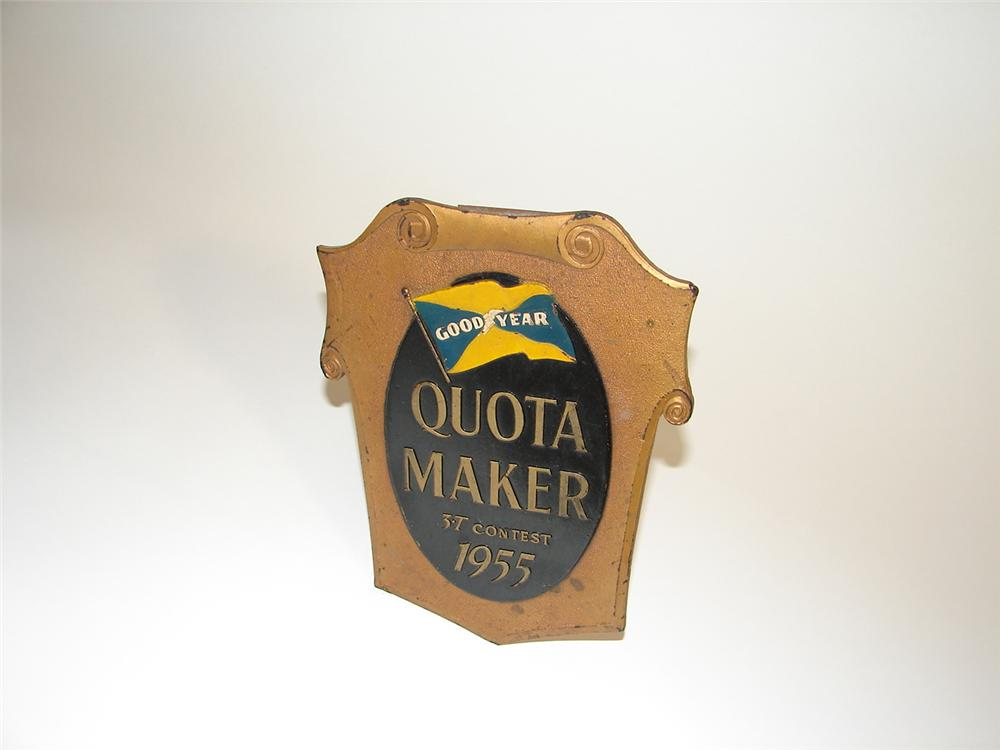 1955 Goodyear Quota Maker dealer award plaque. - Front 3/4 - 89450