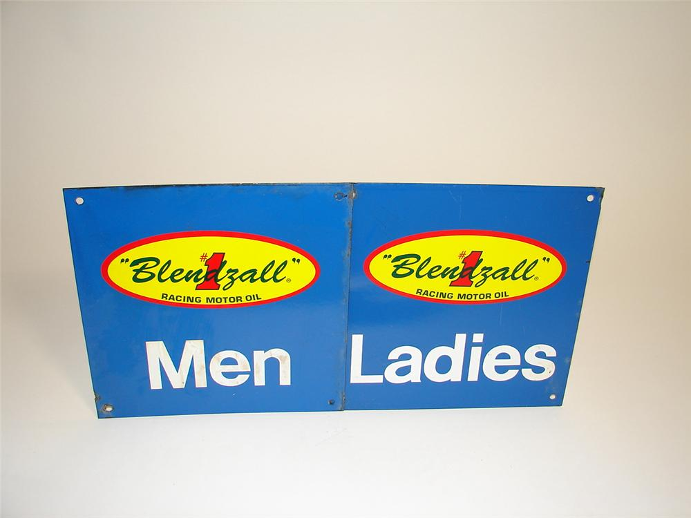 Set of Mens-Ladies porcelain rest room sign. - Front 3/4 - 89456