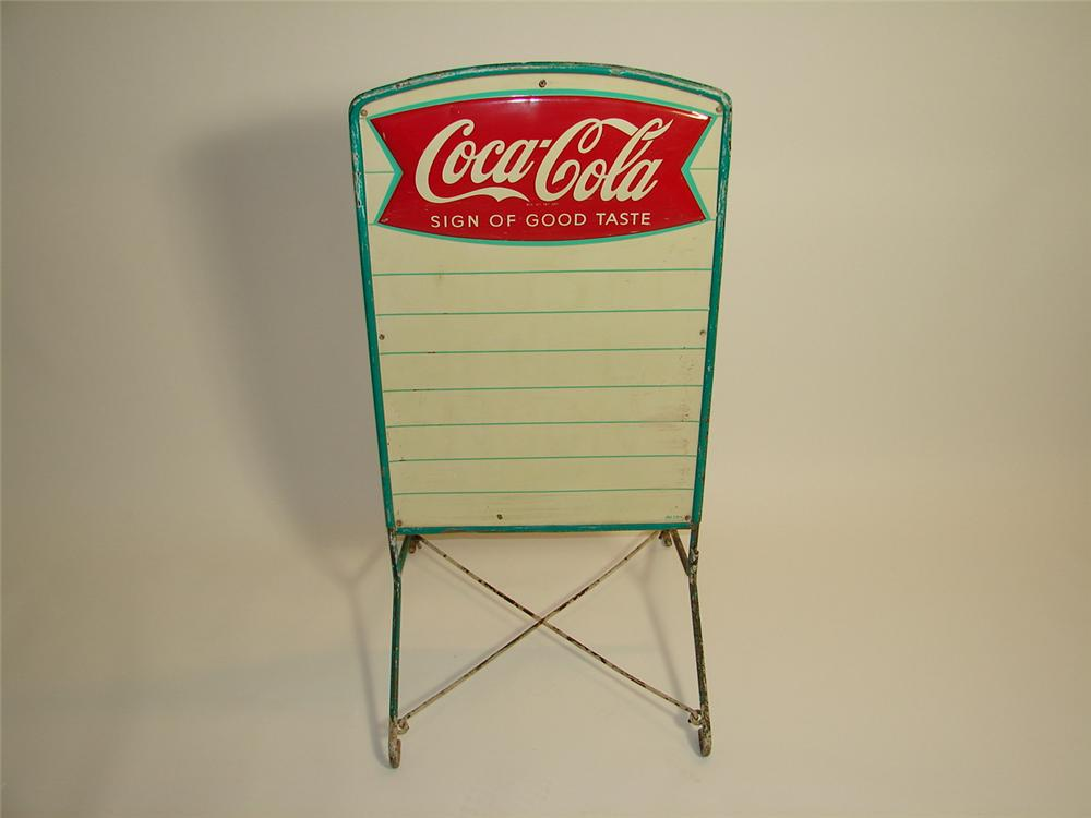 1959 Coca-Cola double-sided tin menu board curb sign with three dimensional fishtail logo. - Front 3/4 - 89457