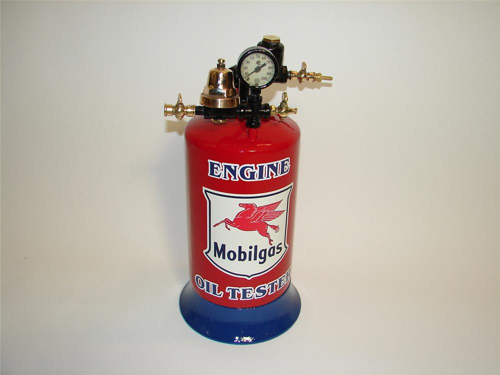 Very neat 1930s Mobil Oil filling station Engine Oil tester. Fabulous with brass accents. - Front 3/4 - 89459