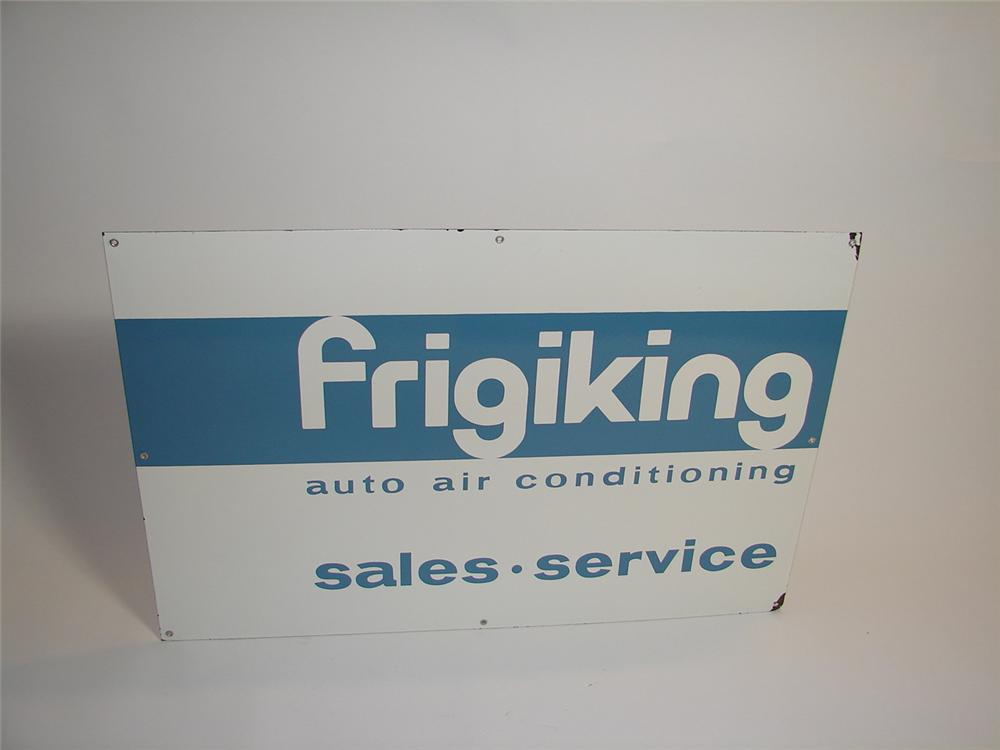 N.O.S. 1960s FrigiKing Auto Air Conditioning porcelain dealership sign. - Front 3/4 - 89466