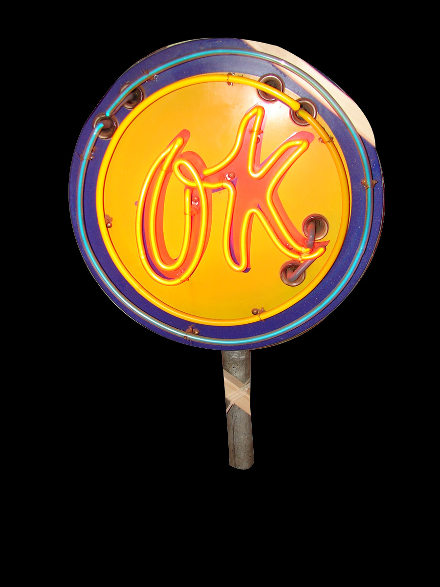 "Fantastic 1950s Chevrolet ""OK"" Used Cars neon porcelain dealership sign. ""OK"" flashes on and off. - Front 3/4 - 89469"