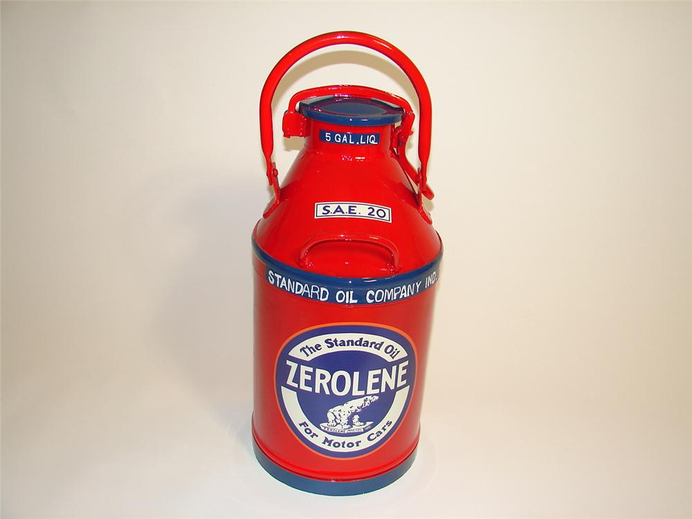 "Neat 1920s restored Standard Oil ""Zerolene"" five gallon bulk oil can. - Front 3/4 - 89470"