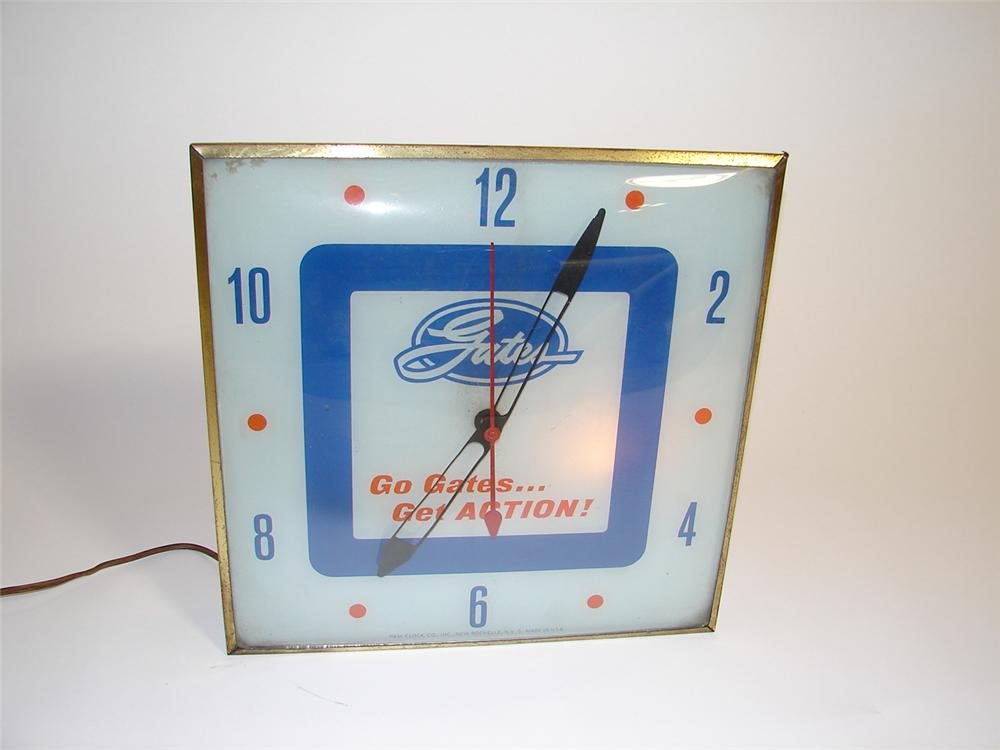 1960s Gates Tires and Batteries light-up glass faced garage clock. - Front 3/4 - 89475