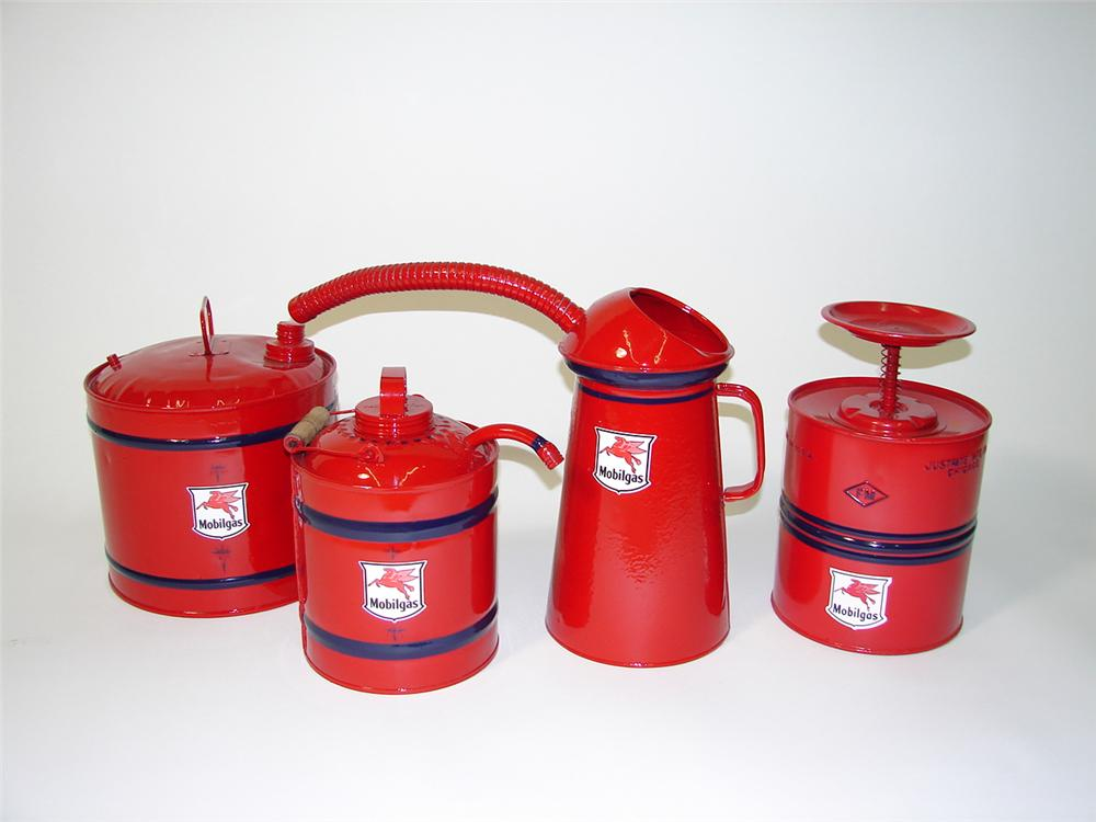 Lot of four restored 1920s-40s Mobil Oil Service Dept oil/gas cans. - Front 3/4 - 89487