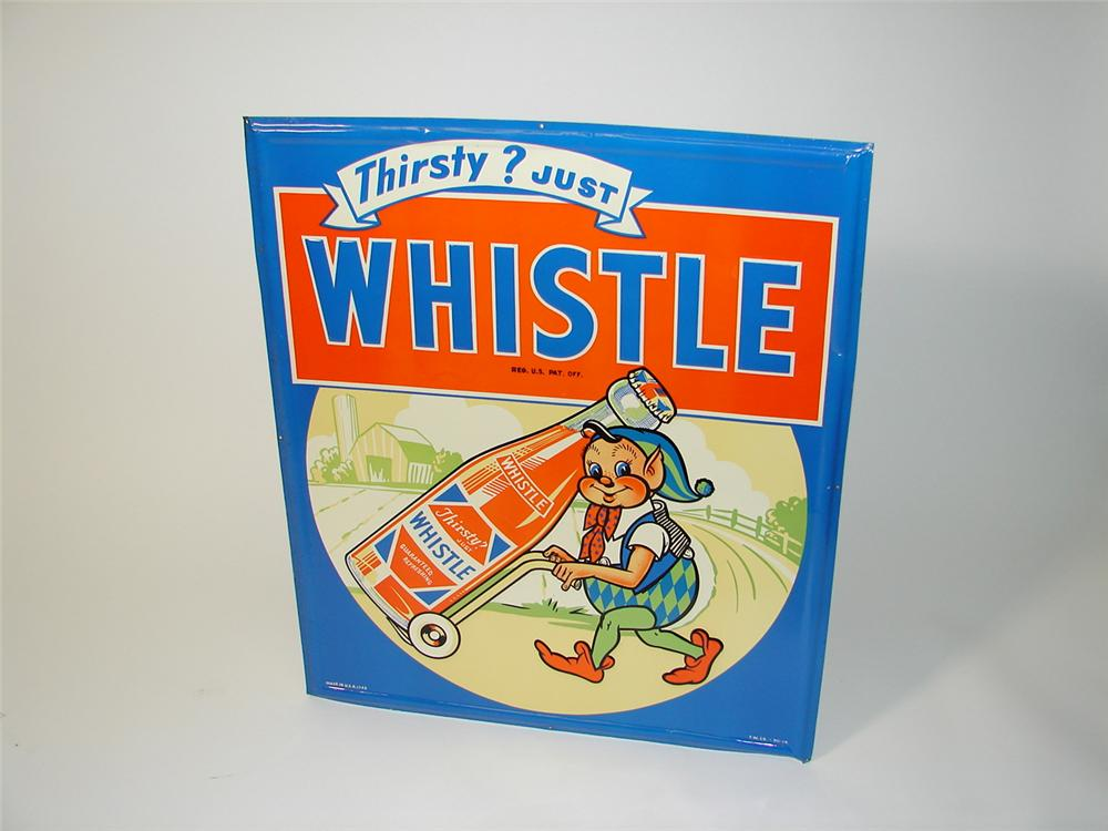 Beautiful N.O.S. 1948 Whistle Orange Soda tin sign with adorable elf graphic. - Front 3/4 - 89492