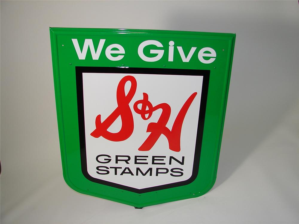 N.O.S. S & H Green Stamps embossed tin sign. - Front 3/4 - 89498