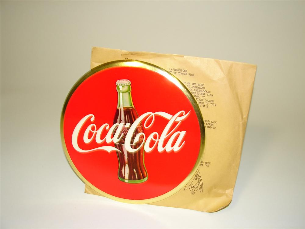 N.O.S. 1940s-50s Coca-Cola celluloid counter top sign with bottle graphic. - Front 3/4 - 89501