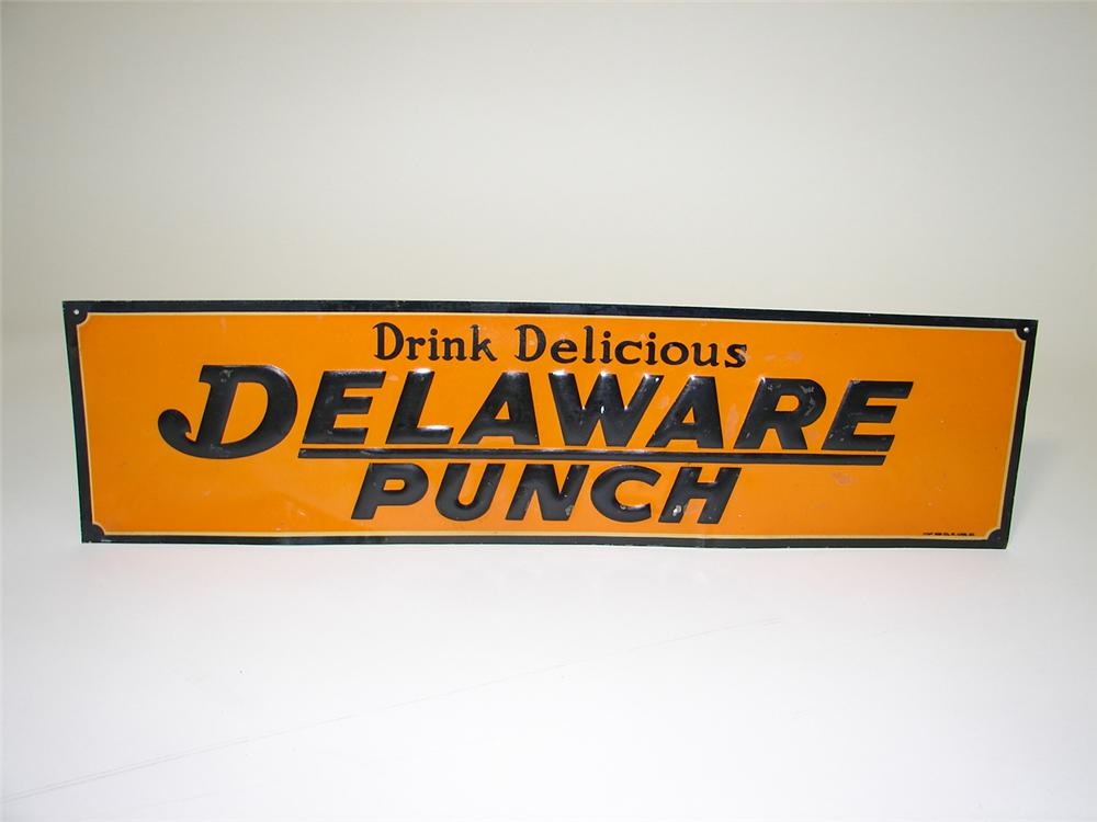 N.O.S. 1928 Delaware Punch Soda tin sign. - Front 3/4 - 89502