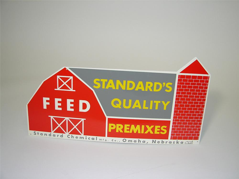 N.O.S. 1950s Standard Quality Feeds single-sided tin general store sign. - Front 3/4 - 89504