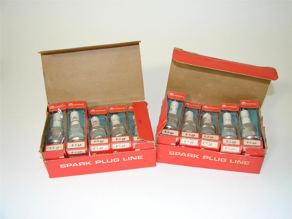 Lot of two N.O.S. 1960s Mopar Spark Plug display boxes filled with original plugs. - Front 3/4 - 89505
