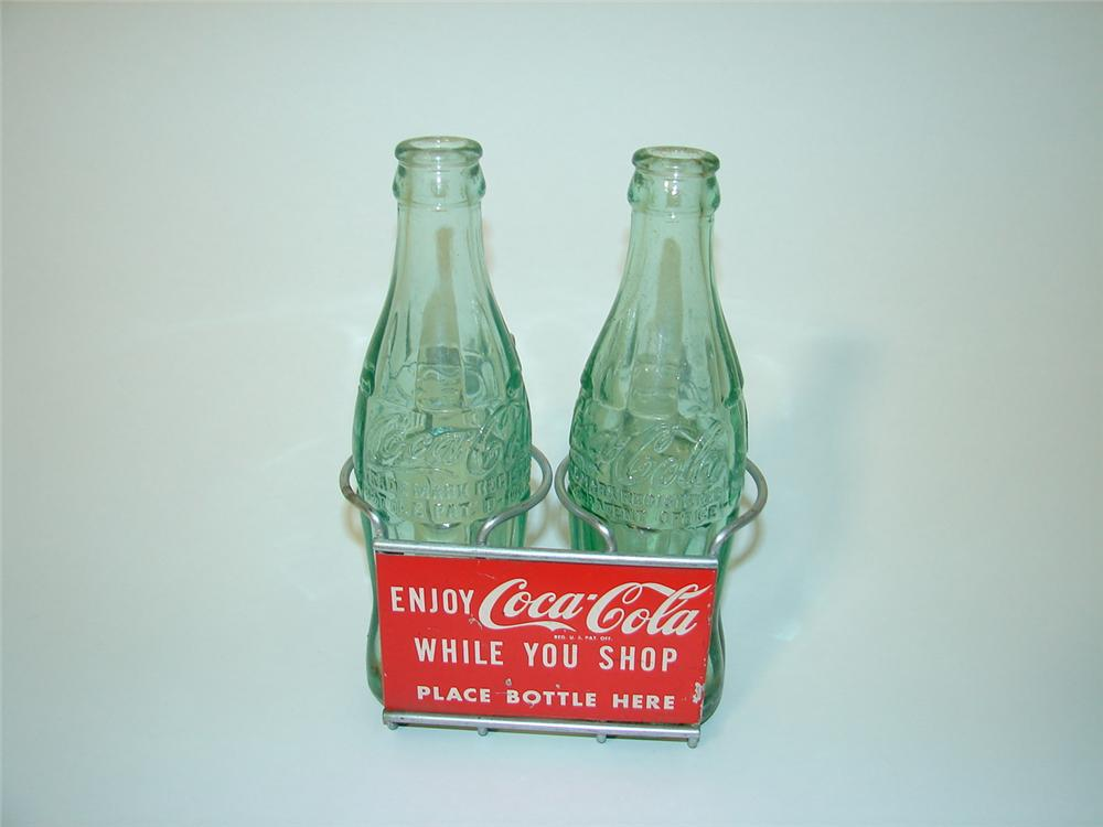 N.O.S. 1950s Coca-Cola shopping cart bottle holder. - Front 3/4 - 89506