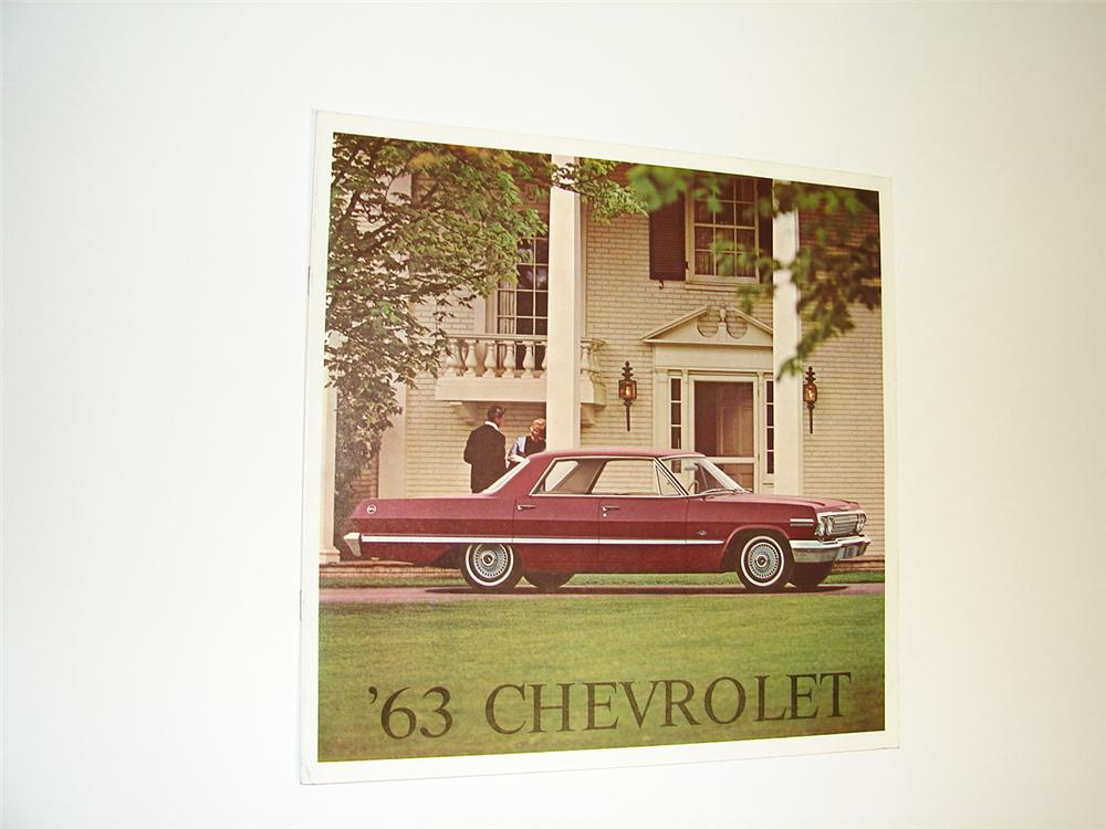 N.O.S. 1963 Chevrolet 16 page over-sized color sales brochure. - Front 3/4 - 89514